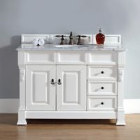 James Martin Furniture Brookfield Vanity with Drawers with Carrara White Stone Top in Cottage White