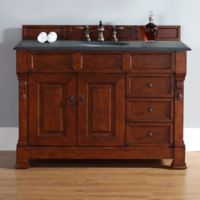 James Martin Furniture Brookfield Single Vanity with Absolute Black Stone Top in Warm Cherry