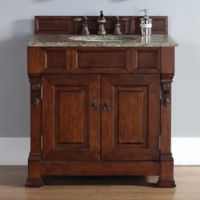 James Martin Furniture Brookfield 2-Door Single Vanity with Santa Cecilia Stone Top in Warm Cherry