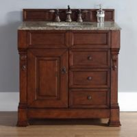 James Martin Furniture Brookfield Single Vanity with Santa Cecilia Stone Top in Warm Cherry