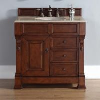 James Martin Furniture Brookfield Single Vanity with Galala Beige Stone Top in Warm Cherry