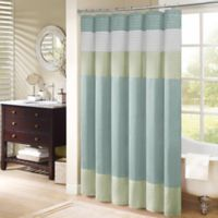 Madison Park Carter Polyester Shower Curtain in Aqua