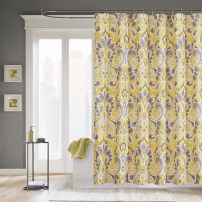 Madison Park Carter Polyester Shower Curtain In Yellow