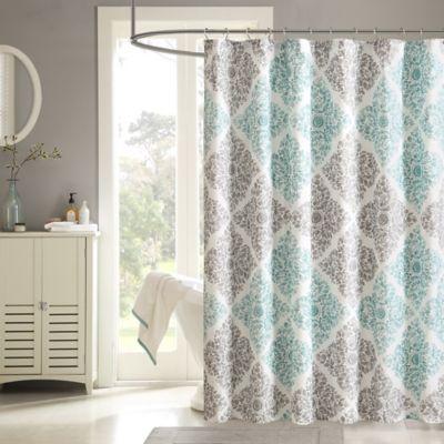 aqua and gray shower curtain. Madison Park Claire Shower Curtain in Aqua Buy Curtains from Bed Bath  Beyond