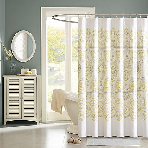 Madison Park Libreto Shower Curtain In Yellow Bed Bath