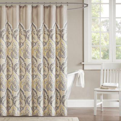 Madison Park Nisha Shower Curtain In Yellow
