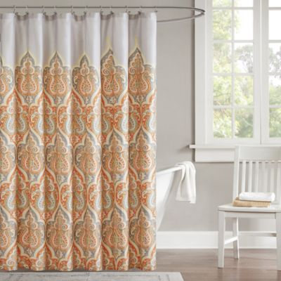 Madison Park Nisha Shower Curtain In Orange