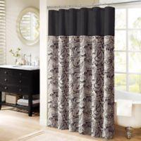 Madison Park Aubrey Jacquard 72-Inch x 72-Inch Shower Curtain Black