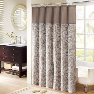 beige and brown shower curtain. Madison Park Aubrey Jacquard 72 Inch x Shower Curtain in Brown Buy Curtains from Bed Bath  Beyond