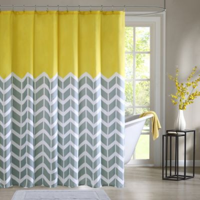 Intelligent Design Nadia Shower Curtain In Yellow