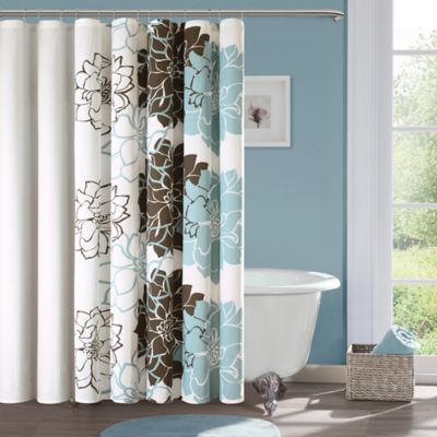 Lovely Madison Park Lola Cotton Shower Curtain In Blue/Brown