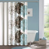 Madison Park Lola Cotton Shower Curtain in Blue/Brown