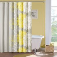 Madison Park Lola Cotton Shower Curtain in Grey/Yellow