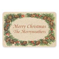 """Weather Guard™ 17.5-Inch x 26.5-Inch """"Merry Christmas"""" Pine Border Door Mat"""