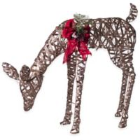 Pre-Lit Glittering Feeding Doe Holiday Decoration