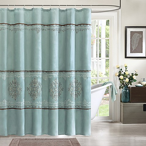 Madison Park Brussel Shower Curtain In Blue Bed Bath