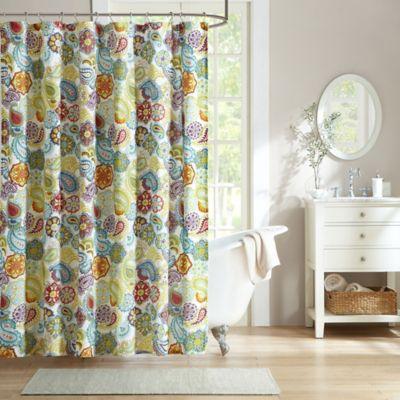 buy mi zone libra microfiber shower curtain in grey from bed bath