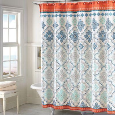 Henna Shower Curtain in Blue Bed Bath Beyond