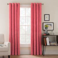Morgan Corduroy 84-Inch Grommet Top Window Curtain Panel in Coral