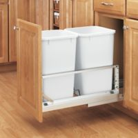 Rev-A-Shelf® Brushed Aluminum Double 27 qt. Pull-Out Waste Containers in White/Silver