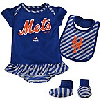 MLB New York Mets Newborn 3-Piece Girl Creeper Bib and Bootie Set