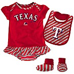 MLB Texas Rangers Newborn 3-Piece Girl Creeper Bib and Bootie Set