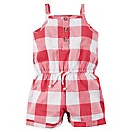 carter's® Newborn Buffalo Check Sleeveless Romper in Red/White