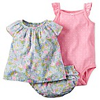 carter's® Size 6M 3-Piece Floral Top, Diaper Cover, and Dot Bodysuit Set in Blue/Pink