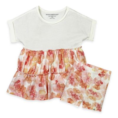 Burt's Bees Baby® Newborn 2-Piece Poppy Floral Tunic and Short Set in Coral