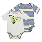 Burt's Bees Newborn Baby® 2-Pack Bee/Stripe Organic Cotton Bodysuits in Yellow/Blue