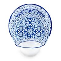 Q-Squared Talavera Azul 12-Piece Dinnerware Set in White/Blue