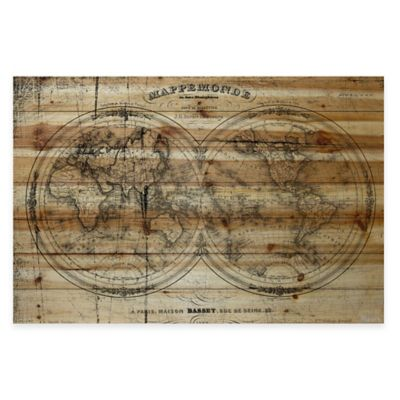 Buy world map wall decor from bed bath beyond parvez taj vintage globe natural pine wood wall art gumiabroncs Choice Image