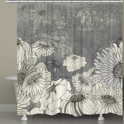 Laural Home® Flowers On Grey Shower Curtain - Buy Grey Shower Curtain From Bed Bath & Beyond