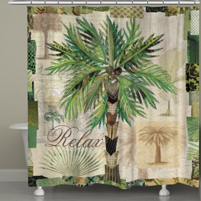 Laural Home® Palm Scrapbook Shower Curtain - Buy Palm Tree Shower From Bed Bath & Beyond