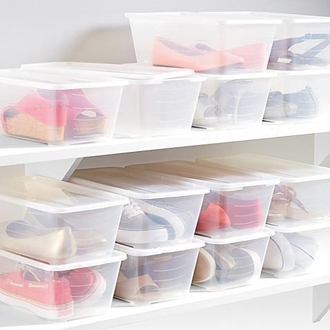 shoe boxes in clear set of 14 bed bath beyond. Black Bedroom Furniture Sets. Home Design Ideas