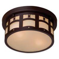 Minka Lavery® Harveston Manor 2-Light Flush-Mount Outdoor Lantern in Bronze with Glass Shade