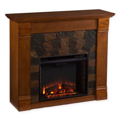 Southern Enterprises Elkmont Electric Fireplace in Salem Antique Oak - Buy Southern Enterprises Electric Fireplace From Bed Bath & Beyond