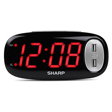 Digital Alarm Clock With 2 Usb Ports Bed Bath Amp Beyond