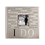 """I Do"" Faux Leather 160-Photo Wedding Album in Silver"