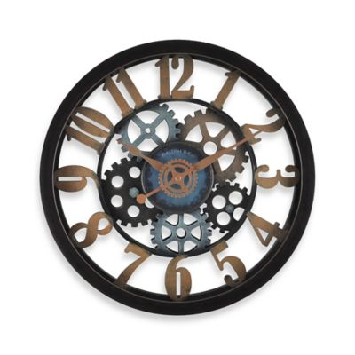firstime vintage gears wall clock in blackgold