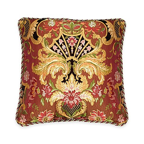 Austin Horn Classics Ashley Square Throw Pillow in Coral/Gold
