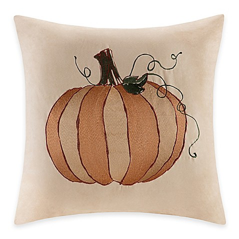 Madison Park Pumpkin Embroidered Square Throw Pillow - Bed Bath & Beyond