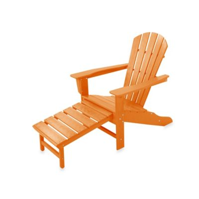 POLYWOOD® South Beach Ultimate Adirondack Chair With Ottoman In Tangerine