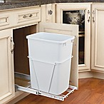 Rev-A-Shelf Single 35 Qt. Pull-Out White Waste Container with Full-Extension Slides