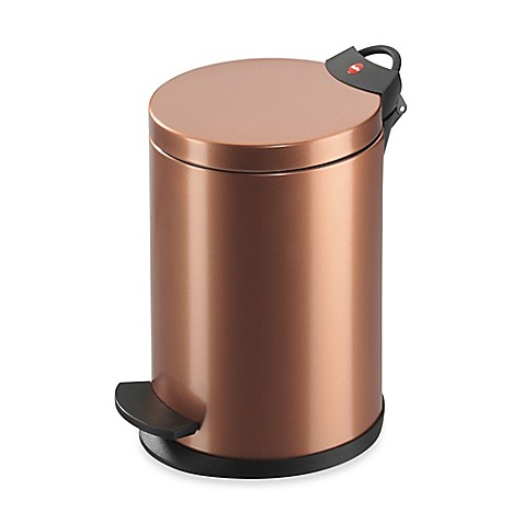 buy hailo round 4 liter step trash can in copper from bed bath beyond. Black Bedroom Furniture Sets. Home Design Ideas