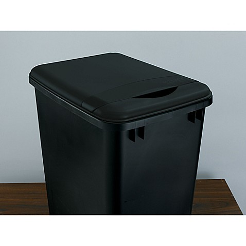 Rev a shelf rv 35 lid 18 1 35 qt black waste for Bathroom containers with lids