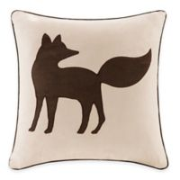 Madison Park Fox Embroidered Square Throw Pillow in Tan