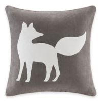 Madison Park Fox Embroidered Square Throw Pillow in Grey