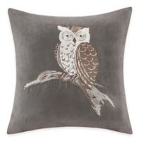 Madison Park Owl Embroidered Square Throw Pillow in Grey