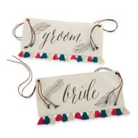 Kate Aspen® Feathers and Tassels Bride and Groom Chair Signs